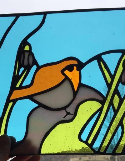 Robin with snowdrops panel
