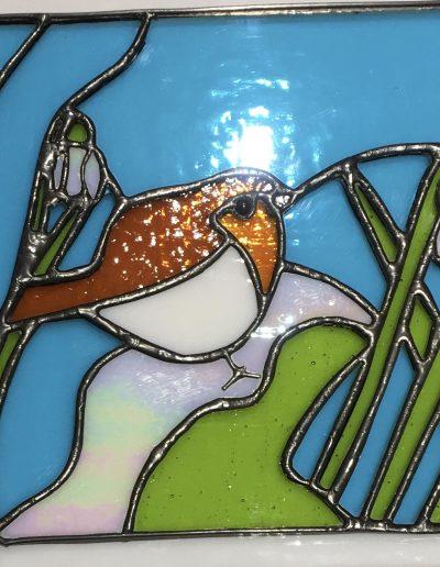 Robin and snowdrops art panel