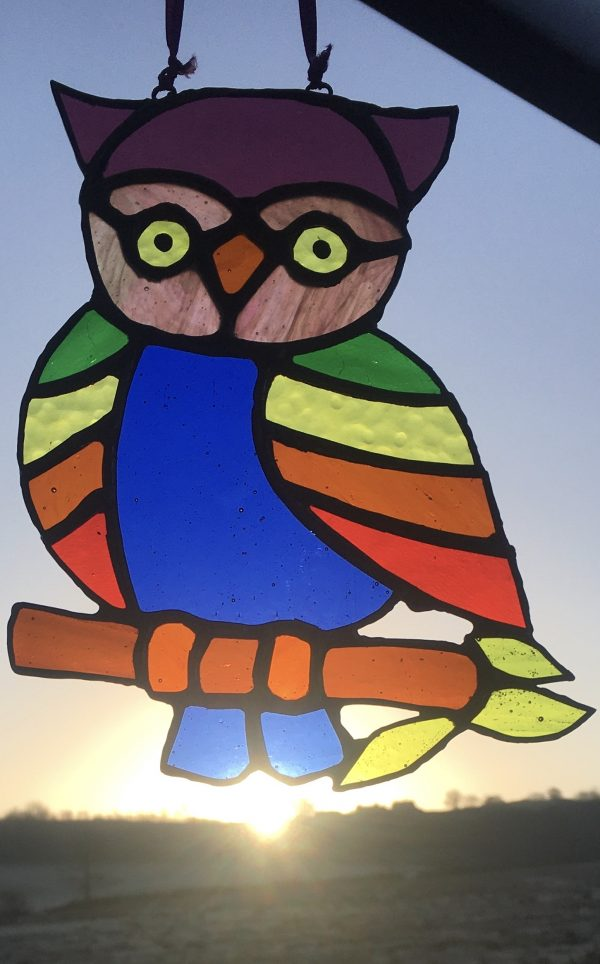 stained glass rainbow owl