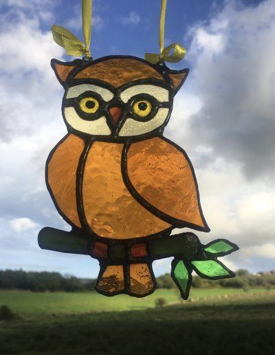 Amber Owl Sun Catcher