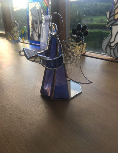 Stained glass angel tea light holder