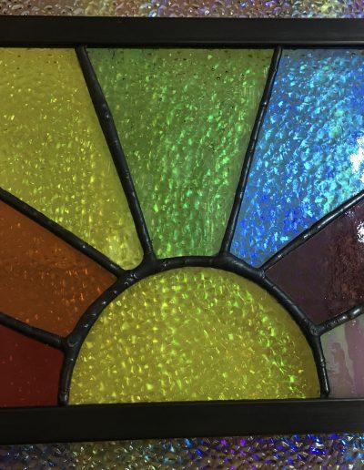 Zinc rainbow framed sun burst art panel