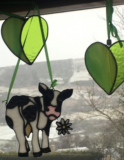 Stained glass Daisy Cow Sun Catcher
