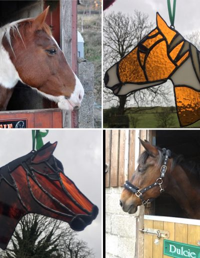 Stained glass horse portrait sun catcher
