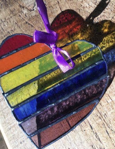 Rainbow Heart diagonal pattern suncatcher