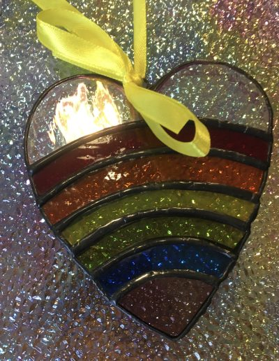 Stained glass rainbow heart