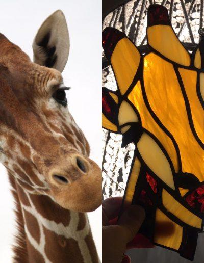 Stained glass Giraffe sun catcher