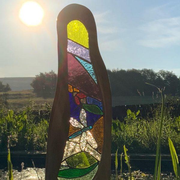 Dragonfly & ladybird glass & wood sculpture