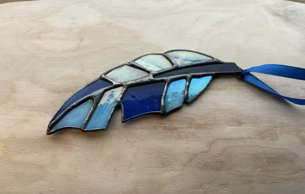 Blue stained glass feather sun catcher