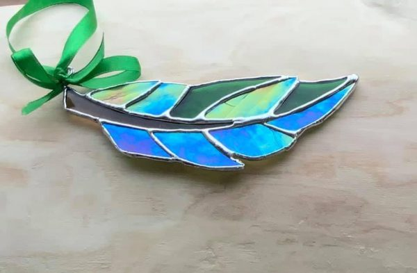 Stained glass green feather