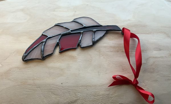 Red stained glass feather sun catcher