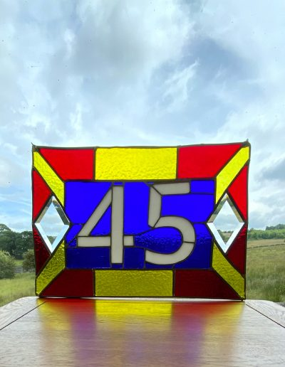 Stained glass door number