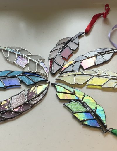 Stained glass feather sun catchers