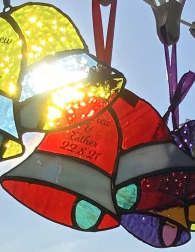 Stained glass bells sun catcher