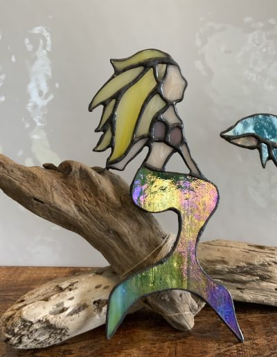 Stained glass mermaid & Dolphin driftwood art