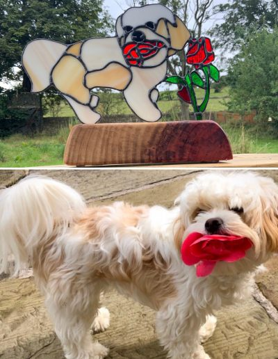 Stained glass dog with rose