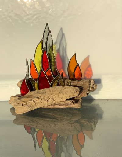 Stained glass on driftwood