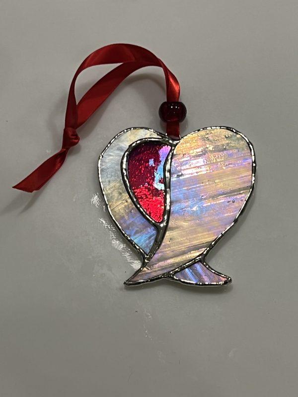 Angel wings heart sun catcher