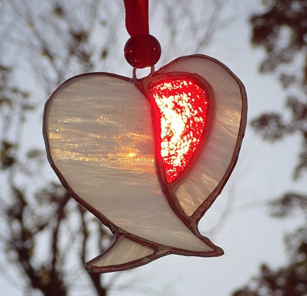 Stained glass red and white Angel heart
